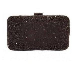 Lule Black Microfibre & Diamante Clutch Bag