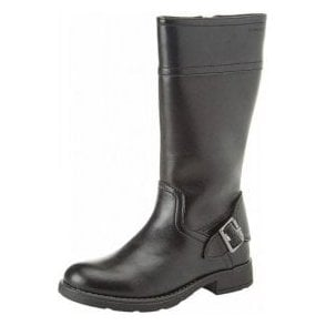 J Sofia D J84D3D Black Leather Girls Boot