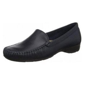 Sanson Navy Leather Loafer Moccasin Shoe