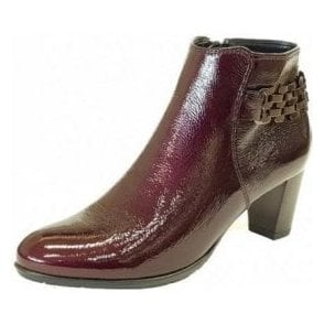 43463-74 Wine Crinkle Patent Ankle Boot