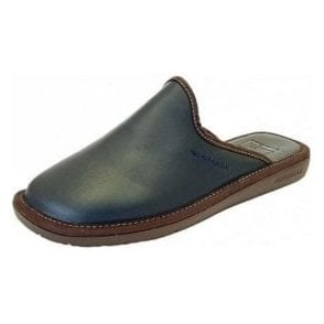 Top Line 131 Ohio Navy Leather Mule Mens Slipper