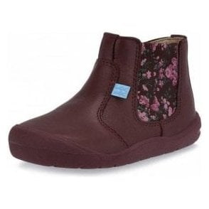 First Chelsea Wine Leather Girls Boot