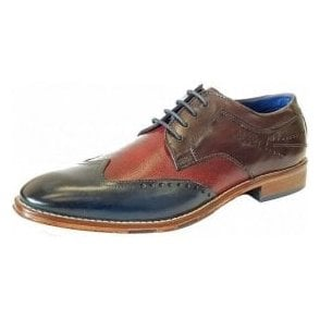 Bugatti Meno 312-52901 3 Tone Navy / Wine / Brown Leather Lace Up Shoe
