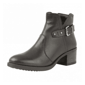 Tapti Black Leather Heeled Ankle Boots