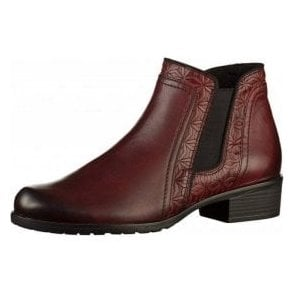 D6873-35 Chianti Red Leather Ladies Ankle Boot