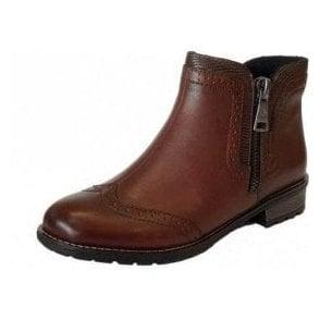 Y3361-22 Brown Leather Brogue Ladies Ankle Boot
