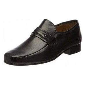 Regent Black Leather Slip on Shoe