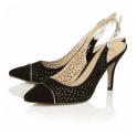 Lotus Hallmark Ela Black Microfibre Sling-Back Court Shoes