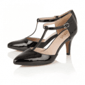 Lotus Camomile Black Shiny T-Bar Shoes