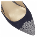 Lotus Arlind Navy & Pewter Glitz Sling-Back Court Shoes