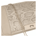 Lotus Kamalei Beige Leather / Snake Print Clutch Bag