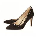 Lotus Popple Black Imi-Suede Court Shoe