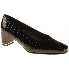 41768-07 Black Patent Croc Court Shoe