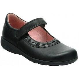 Scissors Black Leather Girl's Shoe