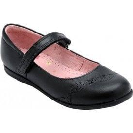 Odette Black Leather Girl's Shoe