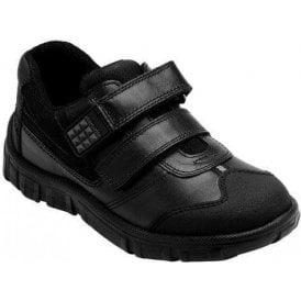 Hover Black Leather Boys Shoe