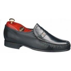 Jefferson Black Leather Moccasin Slip On Shoe