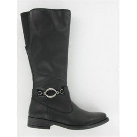 Stefania Black Leather Girl's Boots