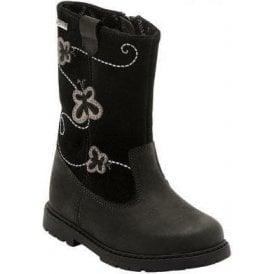 Aqua Stomp Black Leather Waterproof Girls Boot
