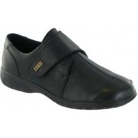 Cranham Black Leather Ladies Velcro Waterproof Shoe