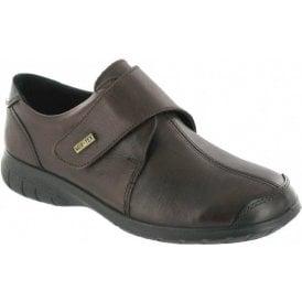 Cranham Brown Leather Ladies Velcro Waterproof Shoe