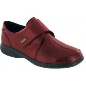 Cranham Red Leather Ladies Velcro Waterproof Shoe