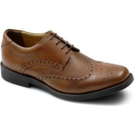 4185 Tan Leather Brogue Lace Shoe
