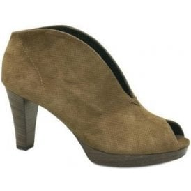 2920-438 Brown Suede Leather Peep Toe Shoe