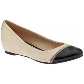 Nehara Nude Pale Ivory & Black Patent Hidden Wedge Ballet Pumps