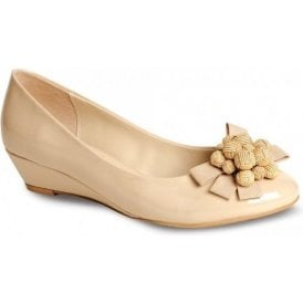 FLV557 Nude / Beige Patent Wedge Shoe