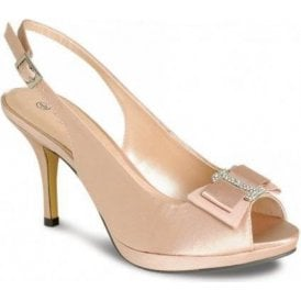 FLR152 Beige Satin Shoe with Bow Trim