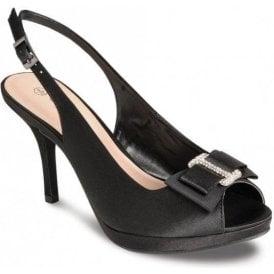 FLR152 Black Satin Shoe with Bow Trim