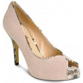 FLR136 Beige Suede Peep Toe Court Shoe with Snake Trim