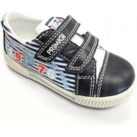 Gabry Navy and White Leather Boys Velcro Shoe