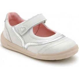 Flexy-Soft Feather White Leather Girl's Shoe