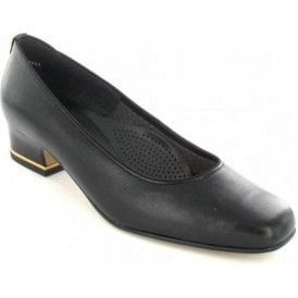 41859-01 Black Leather Court Shoe