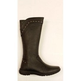 Keira Black Leather Girl's Boots
