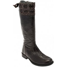 Laser Brown Patent Girls Boot