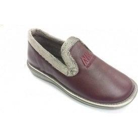 305 Ohio Burgundy Leather Ladies Slipper