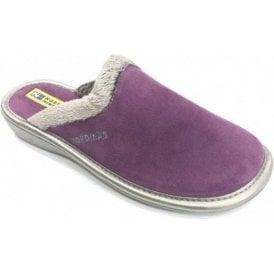 234 Afelpado Purple Suede Leather Mule Ladies Slipper