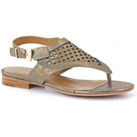 Jana 02 Gold Leather Toe Post Sandal