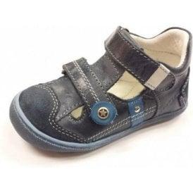 Frankie E Navy / Denim Leather Boy's Velcro Shoe