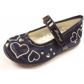 Elda 1 Navy Satin Girl's Velcro Shoe