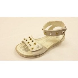 Lauryn White Leather Girl's Velcro Sandal