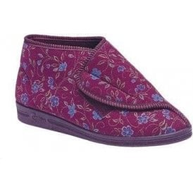 Andrea Wine Velcro Boot Slipper