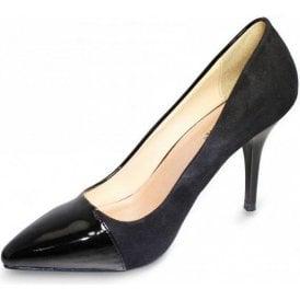 Hollis FLH115 Black Patent / Suede Look Court Shoe
