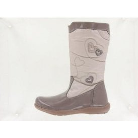 Khristel Taupe Patent Girl's Boots