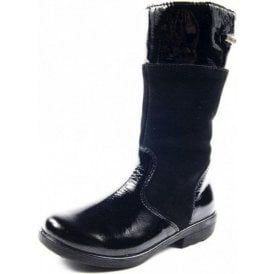Hannah 77238-093 Black Patent Waterproof Girls Boot
