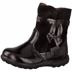 Sanji 2228100-095 Black Patent Waterproof Girls Boot