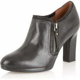 Annabell Black Leather Heeled Shoe-Boots